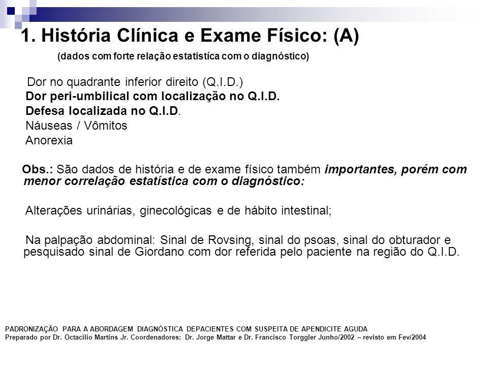 1. História Clínica e Exame Físico: (A) (dados com forte relação estatistíca com o diagnóstico) Dor no quadrante inferior direito (Q.I.D.) Dor peri-um