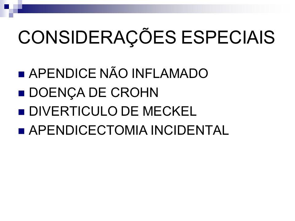 CONSIDERAÇÕES ESPECIAIS APENDICE NÃO INFLAMADO DOENÇA DE CROHN DIVERTICULO DE MECKEL APENDICECTOMIA INCIDENTAL
