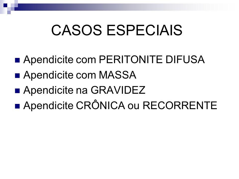 CASOS ESPECIAIS Apendicite com PERITONITE DIFUSA Apendicite com MASSA Apendicite na GRAVIDEZ Apendicite CRÔNICA ou RECORRENTE