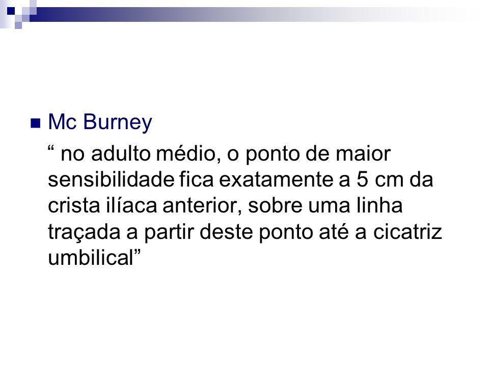 Mc Burney no adulto médio, o ponto de maior sensibilidade fica exatamente a 5 cm da crista ilíaca anterior, sobre uma linha traçada a partir deste pon