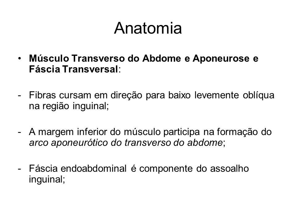 Anatomia Músculo Transverso do Abdome e Aponeurose e Fáscia Transversal: -Fibras cursam em direção para baixo levemente oblíqua na região inguinal; -A
