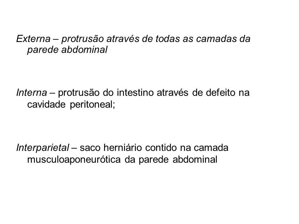 Externa – protrusão através de todas as camadas da parede abdominal Interna – protrusão do intestino através de defeito na cavidade peritoneal; Interp