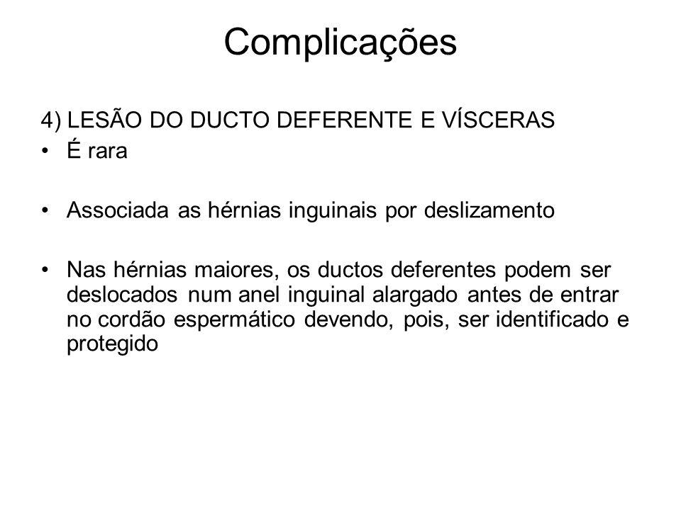 Complicações 4) LESÃO DO DUCTO DEFERENTE E VÍSCERAS É rara Associada as hérnias inguinais por deslizamento Nas hérnias maiores, os ductos deferentes p