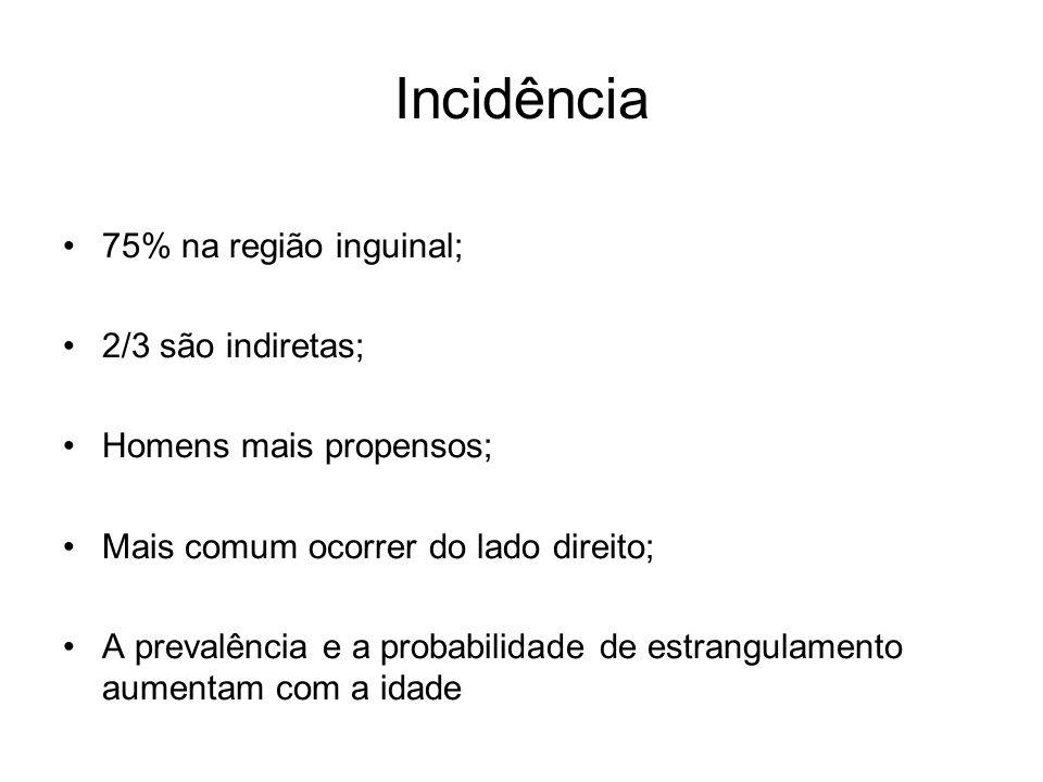 Incidência 75% na região inguinal; 2/3 são indiretas; Homens mais propensos; Mais comum ocorrer do lado direito; A prevalência e a probabilidade de es