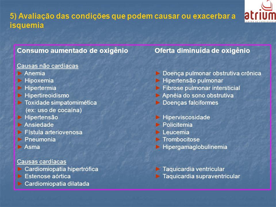 5) Avaliação das condições que podem causar ou exacerbar a isquemia Consumo aumentado de oxigênio Oferta diminuída de oxigênio Causas não cardíacas An