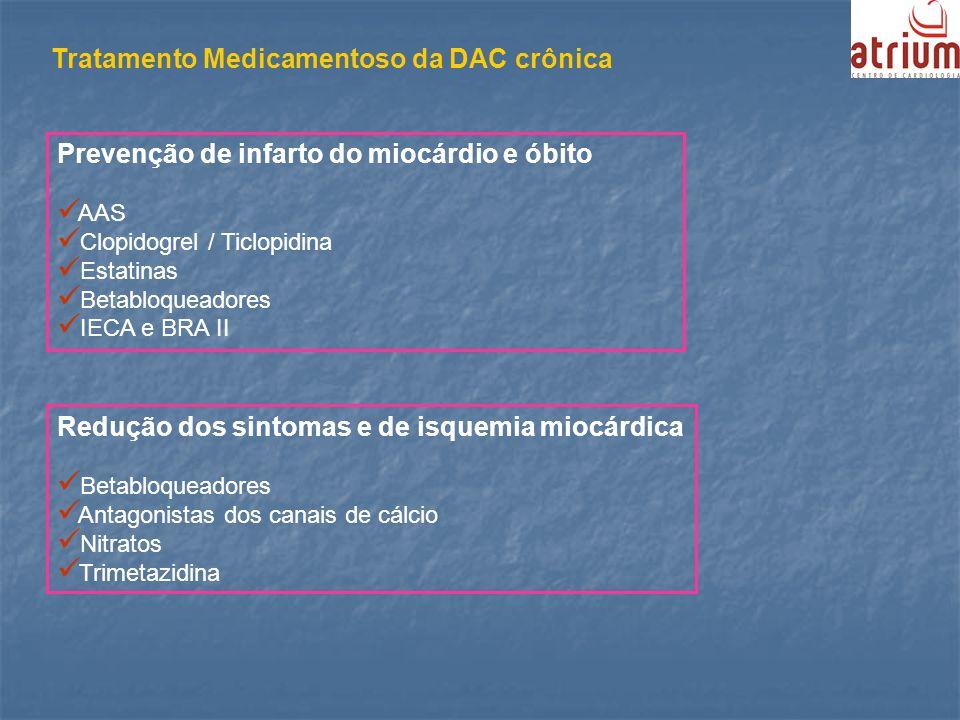 Prevenção de infarto do miocárdio e óbito AAS Clopidogrel / Ticlopidina Estatinas Betabloqueadores IECA e BRA II Redução dos sintomas e de isquemia mi