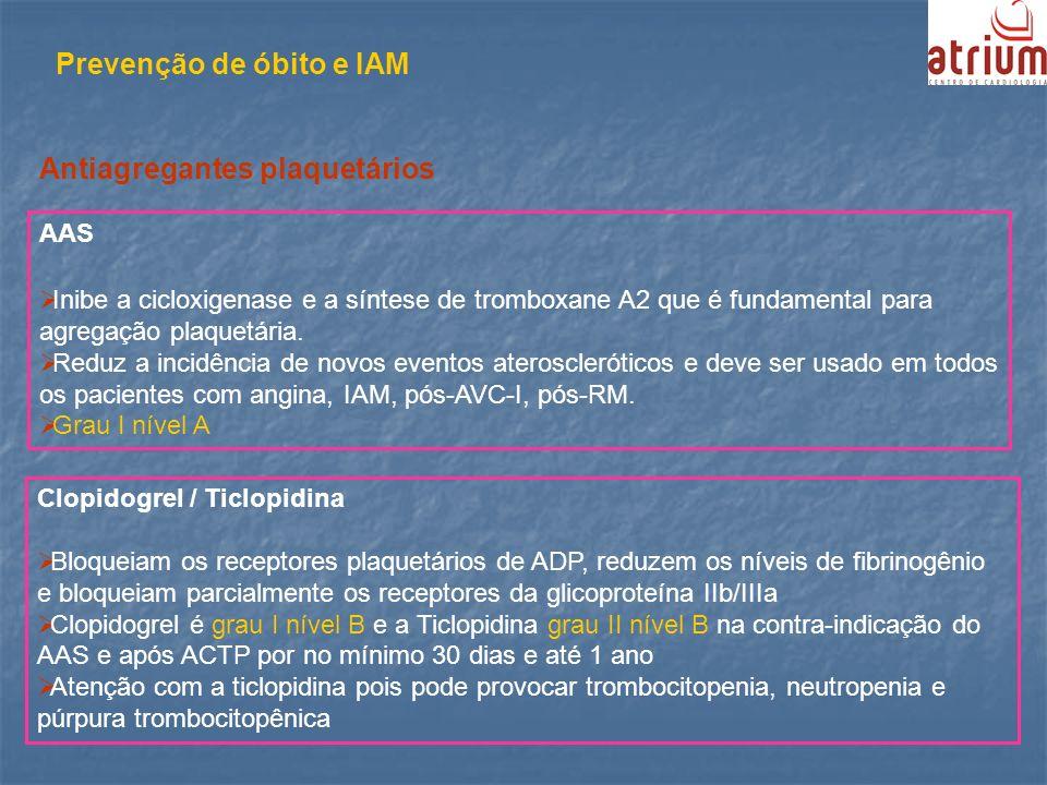 Prevenção de óbito e IAM AAS Inibe a cicloxigenase e a síntese de tromboxane A2 que é fundamental para agregação plaquetária. Reduz a incidência de no