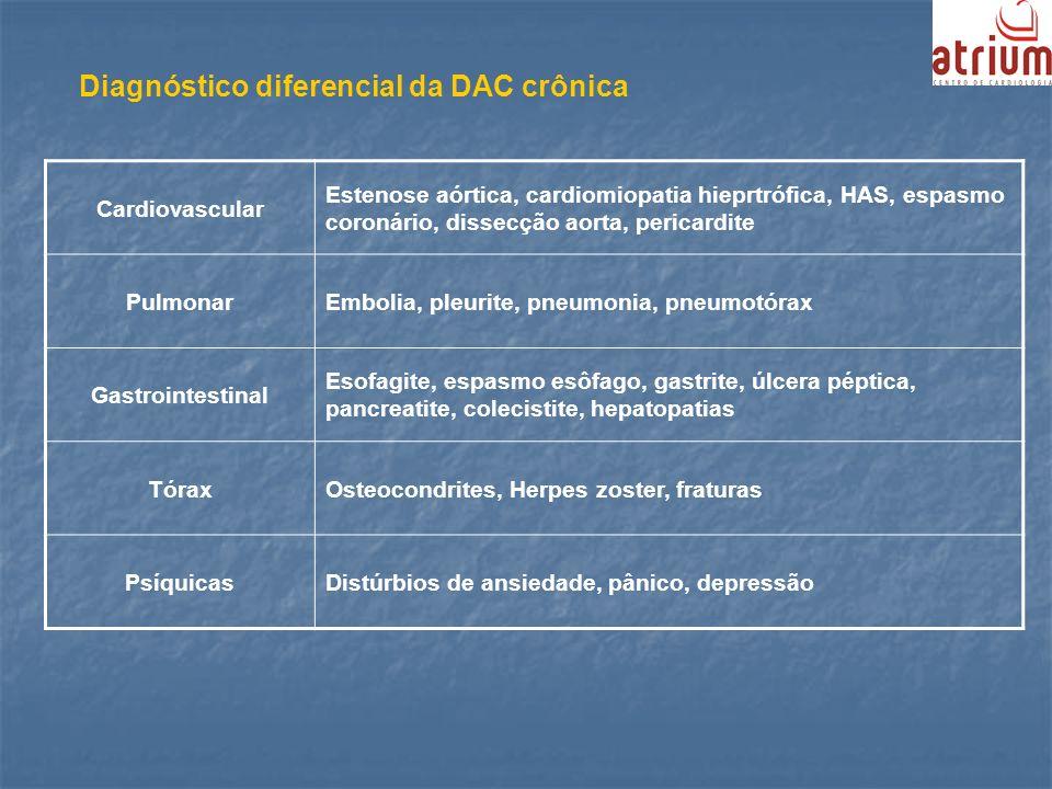Diagnóstico diferencial da DAC crônica Cardiovascular Estenose aórtica, cardiomiopatia hieprtrófica, HAS, espasmo coronário, dissecção aorta, pericard