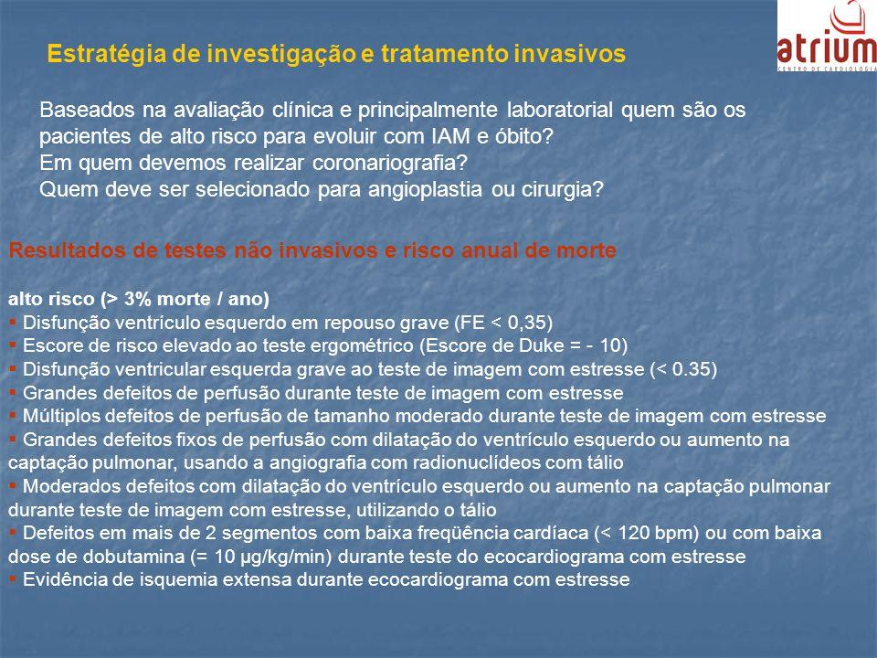 Estratégia de investigação e tratamento invasivos Baseados na avaliação clínica e principalmente laboratorial quem são os pacientes de alto risco para