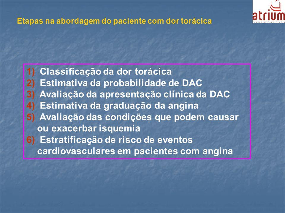 Etapas na abordagem do paciente com dor torácica 1) Classificação da dor torácica 2) Estimativa da probabilidade de DAC 3) Avaliação da apresentação c