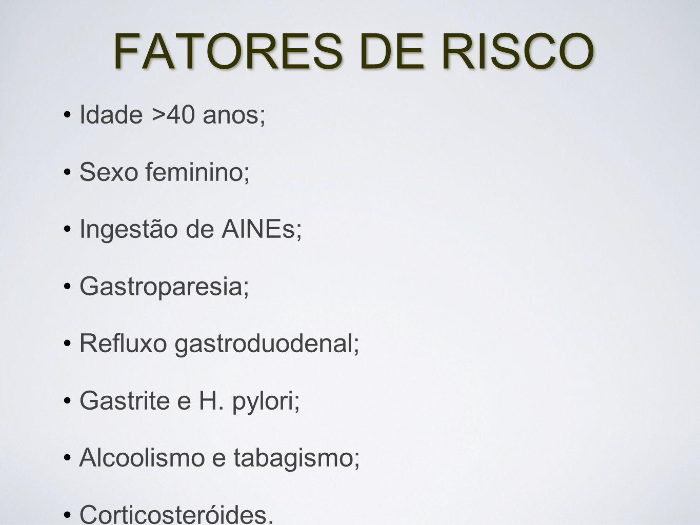 FATORES DE RISCO Idade >40 anos; Sexo feminino; Ingestão de AINEs; Gastroparesia; Refluxo gastroduodenal; Gastrite e H. pylori; Alcoolismo e tabagismo