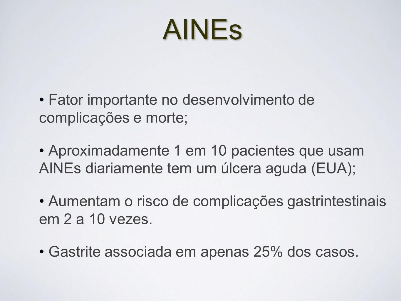 AINEs Fator importante no desenvolvimento de complicações e morte; Aproximadamente 1 em 10 pacientes que usam AINEs diariamente tem um úlcera aguda (E