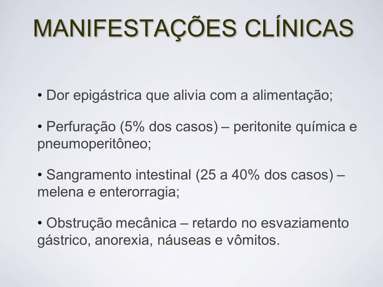 MANIFESTAÇÕES CLÍNICAS Dor epigástrica que alivia com a alimentação; Perfuração (5% dos casos) – peritonite química e pneumoperitôneo; Sangramento int