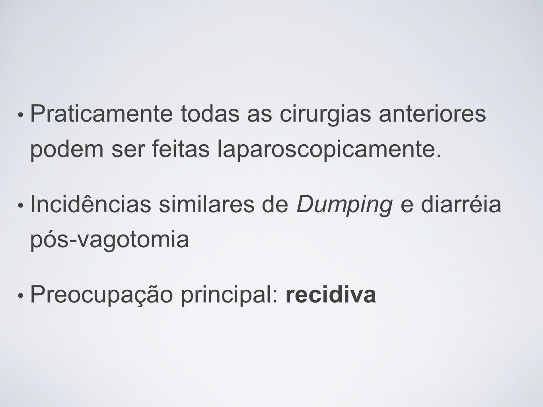 Praticamente todas as cirurgias anteriores podem ser feitas laparoscopicamente. Incidências similares de Dumping e diarréia pós-vagotomia Preocupação