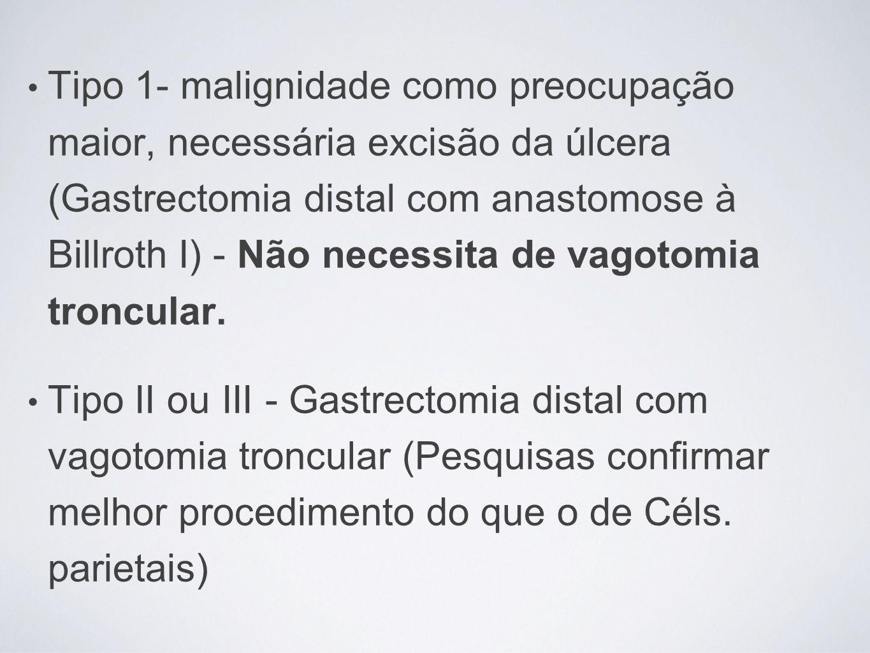Tipo 1- malignidade como preocupação maior, necessária excisão da úlcera (Gastrectomia distal com anastomose à Billroth I) - Não necessita de vagotomi