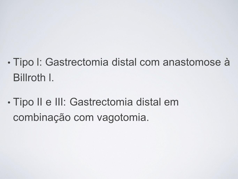 Tipo l: Gastrectomia distal com anastomose à Billroth l. Tipo II e III: Gastrectomia distal em combinação com vagotomia.