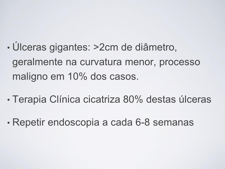Úlceras gigantes: >2cm de diâmetro, geralmente na curvatura menor, processo maligno em 10% dos casos. Terapia Clínica cicatriza 80% destas úlceras Rep