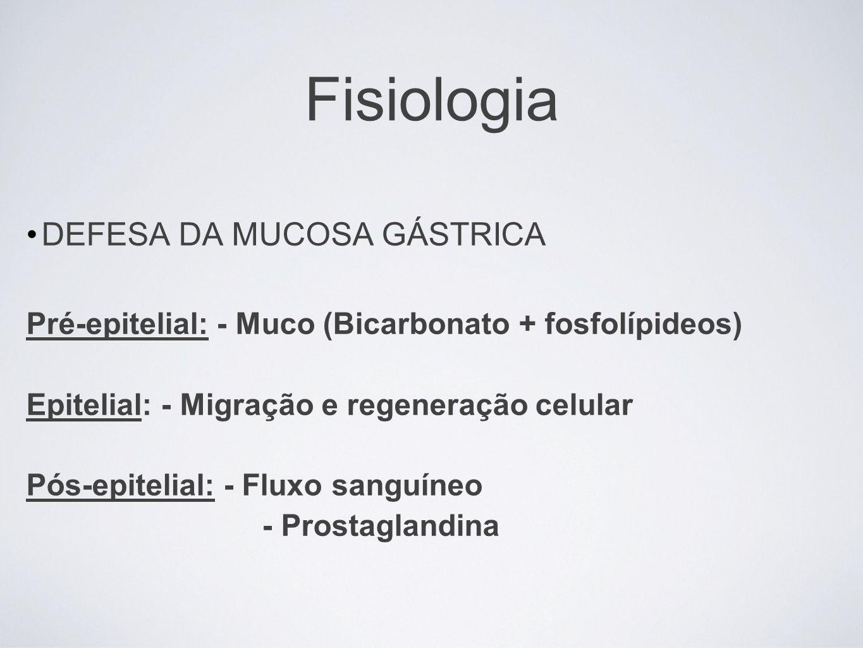 Fisiologia DEFESA DA MUCOSA GÁSTRICA Pré-epitelial: - Muco (Bicarbonato + fosfolípideos) Epitelial: - Migração e regeneração celular Pós-epitelial: -