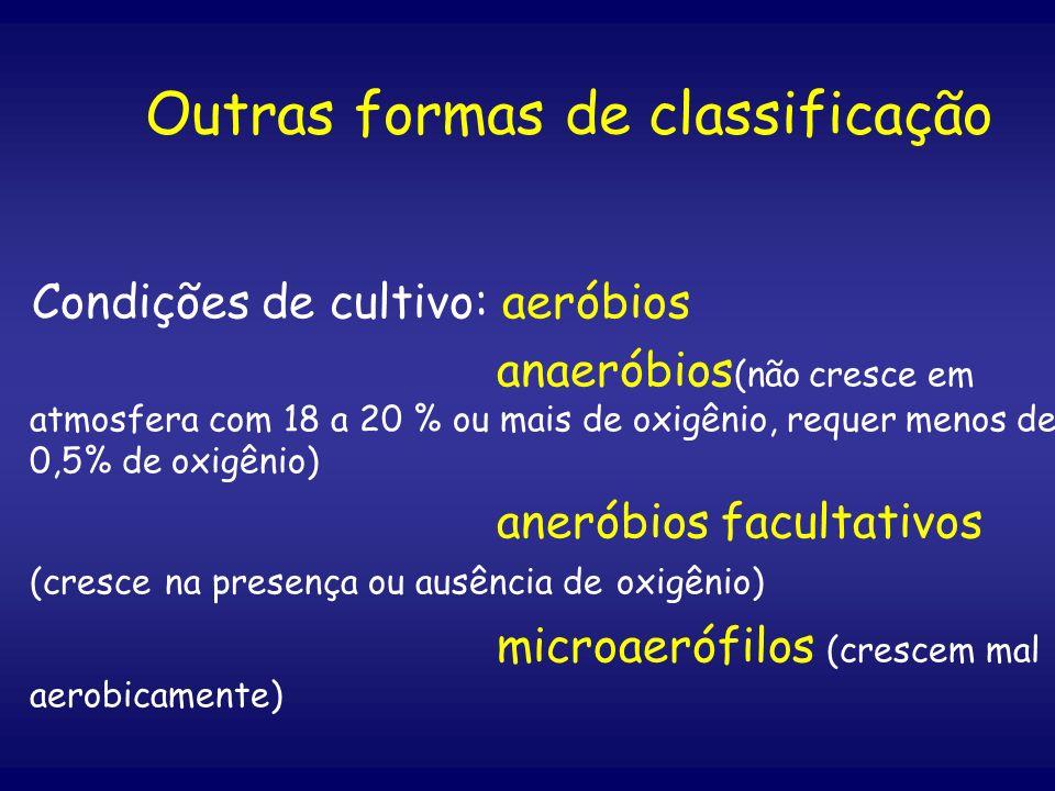 Outras formas de classificação Condições de cultivo: aeróbios anaeróbios (não cresce em atmosfera com 18 a 20 % ou mais de oxigênio, requer menos de 0