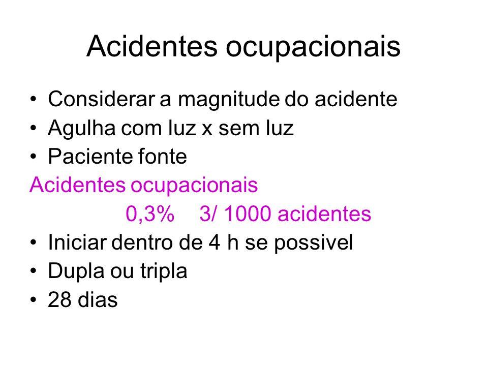 Acidentes ocupacionais Considerar a magnitude do acidente Agulha com luz x sem luz Paciente fonte Acidentes ocupacionais 0,3% 3/ 1000 acidentes Inicia