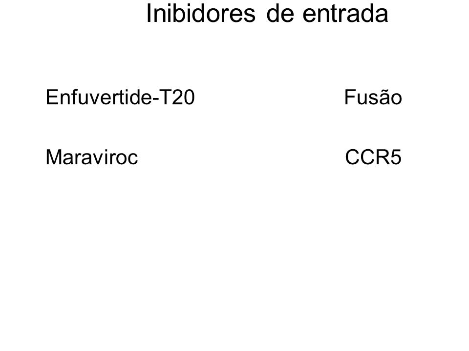 Inibidores de entrada Enfuvertide-T20 Fusão Maraviroc CCR5