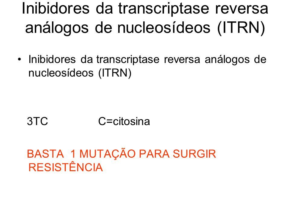 Inibidores da transcriptase reversa análogos de nucleosídeos (ITRN) 3TC C=citosina BASTA 1 MUTAÇÃO PARA SURGIR RESISTÊNCIA