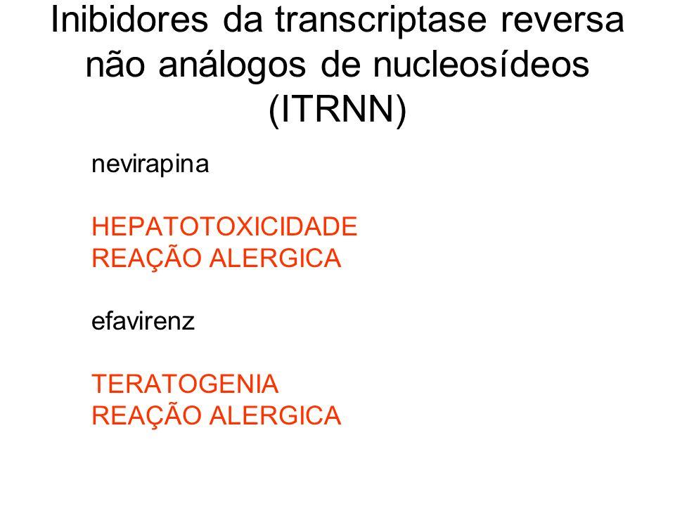 Inibidores da transcriptase reversa não análogos de nucleosídeos (ITRNN) nevirapina HEPATOTOXICIDADE REAÇÃO ALERGICA efavirenz TERATOGENIA REAÇÃO ALER