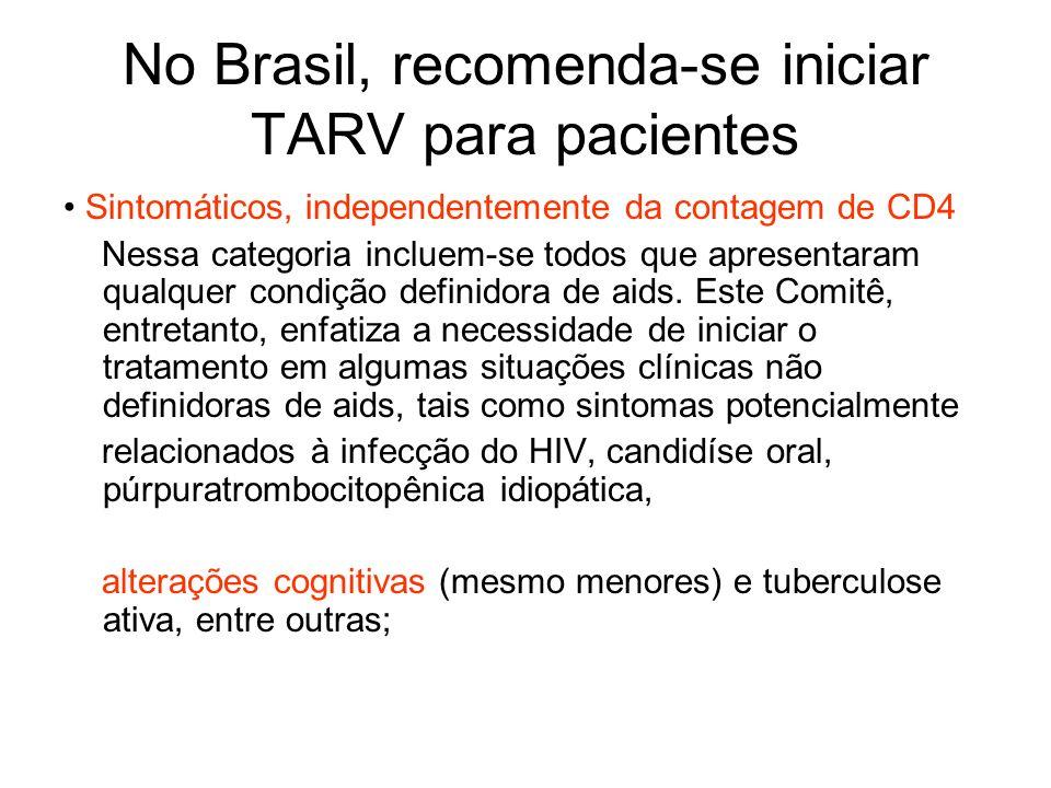 No Brasil, recomenda-se iniciar TARV para pacientes Sintomáticos, independentemente da contagem de CD4 Nessa categoria incluem-se todos que apresentar