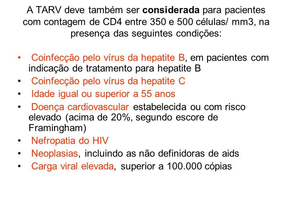 A TARV deve também ser considerada para pacientes com contagem de CD4 entre 350 e 500 células/ mm3, na presença das seguintes condições: Coinfecção pe