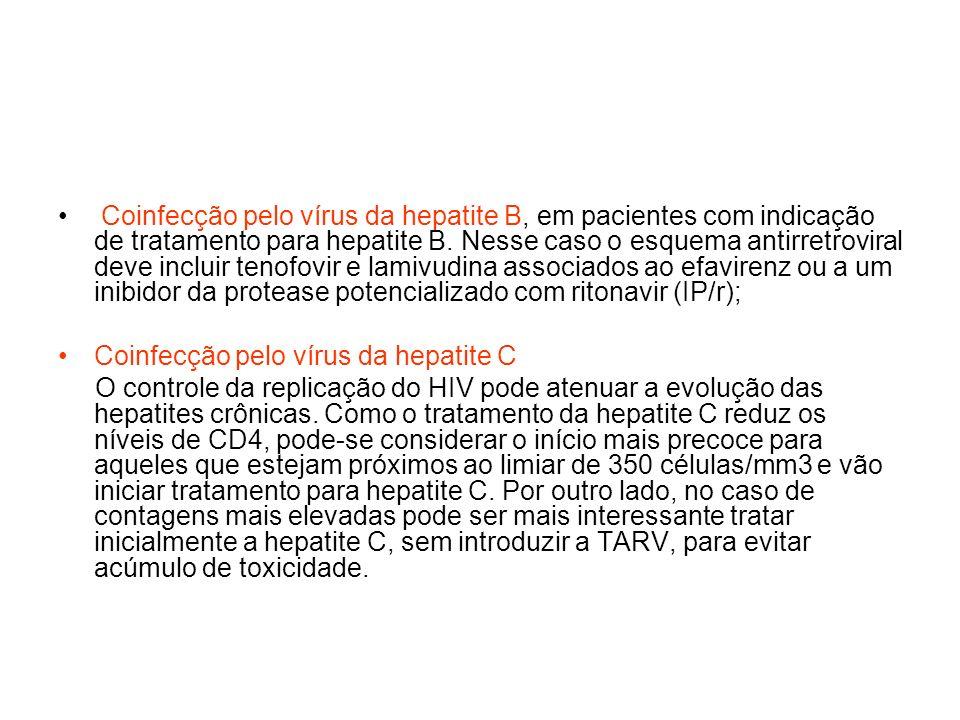 Coinfecção pelo vírus da hepatite B, em pacientes com indicação de tratamento para hepatite B. Nesse caso o esquema antirretroviral deve incluir tenof