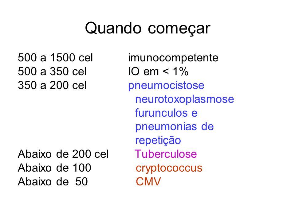 Quando começar 500 a 1500 cel imunocompetente 500 a 350 cel IO em < 1% 350 a 200 cel pneumocistose neurotoxoplasmose furunculos e pneumonias de repeti