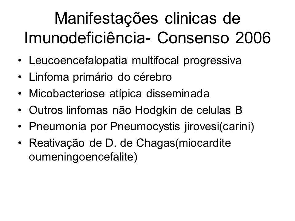 Manifestações clinicas de Imunodeficiência- Consenso 2006 Leucoencefalopatia multifocal progressiva Linfoma primário do cérebro Micobacteriose atípica