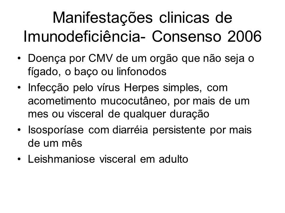 Manifestações clinicas de Imunodeficiência- Consenso 2006 Doença por CMV de um orgão que não seja o fígado, o baço ou linfonodos Infecção pelo vírus H