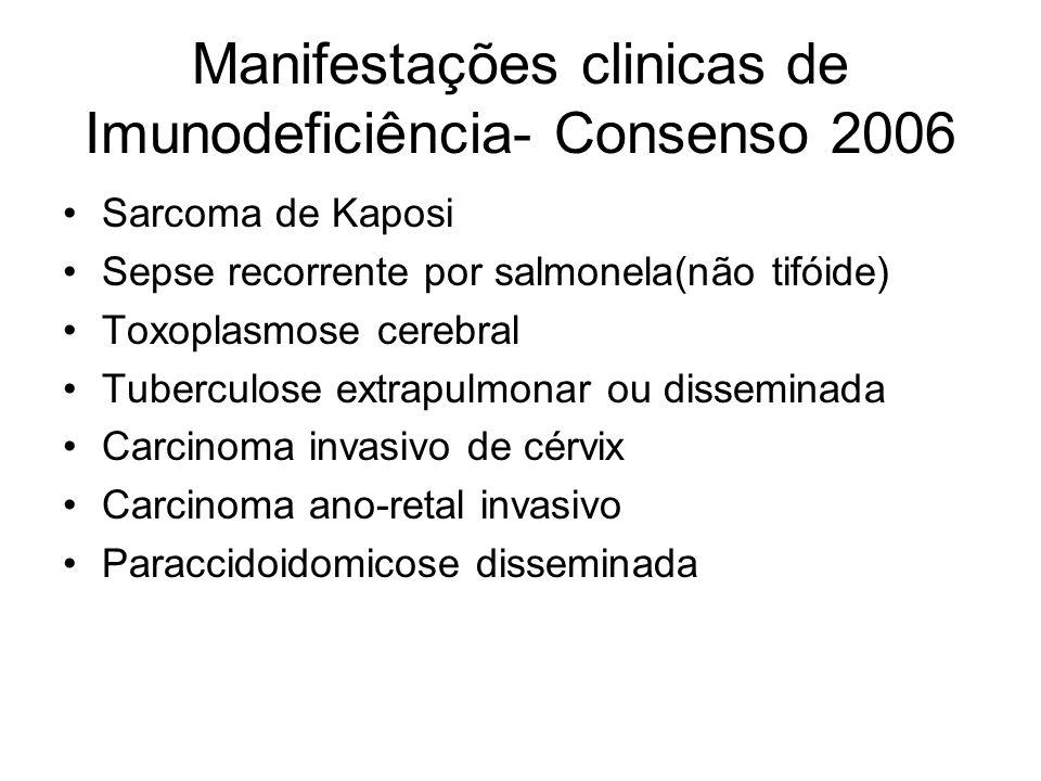 Manifestações clinicas de Imunodeficiência- Consenso 2006 Sarcoma de Kaposi Sepse recorrente por salmonela(não tifóide) Toxoplasmose cerebral Tubercul