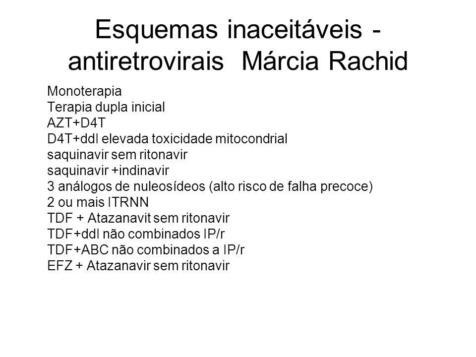 Esquemas inaceitáveis - antiretrovirais Márcia Rachid Monoterapia Terapia dupla inicial AZT+D4T D4T+ddI elevada toxicidade mitocondrial saquinavir sem