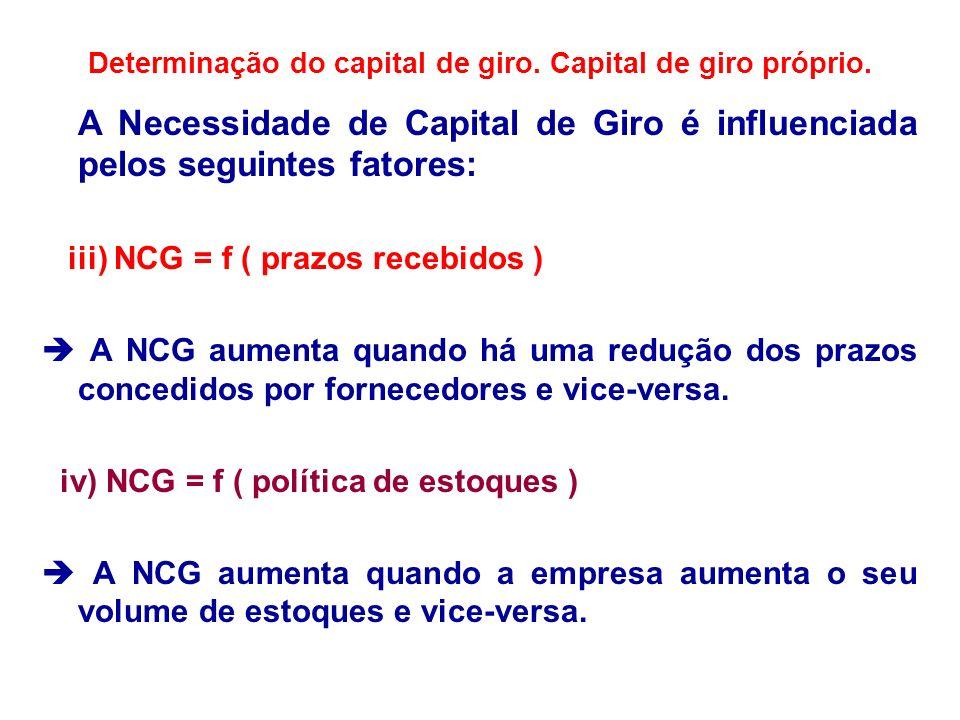 Determinação do capital de giro. Capital de giro próprio. A Necessidade de Capital de Giro é influenciada pelos seguintes fatores: iii) NCG = f ( praz