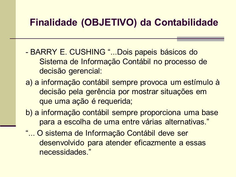Finalidade (OBJETIVO) da Contabilidade - BARRY E. CUSHING...Dois papeis básicos do Sistema de Informação Contábil no processo de decisão gerencial: a)