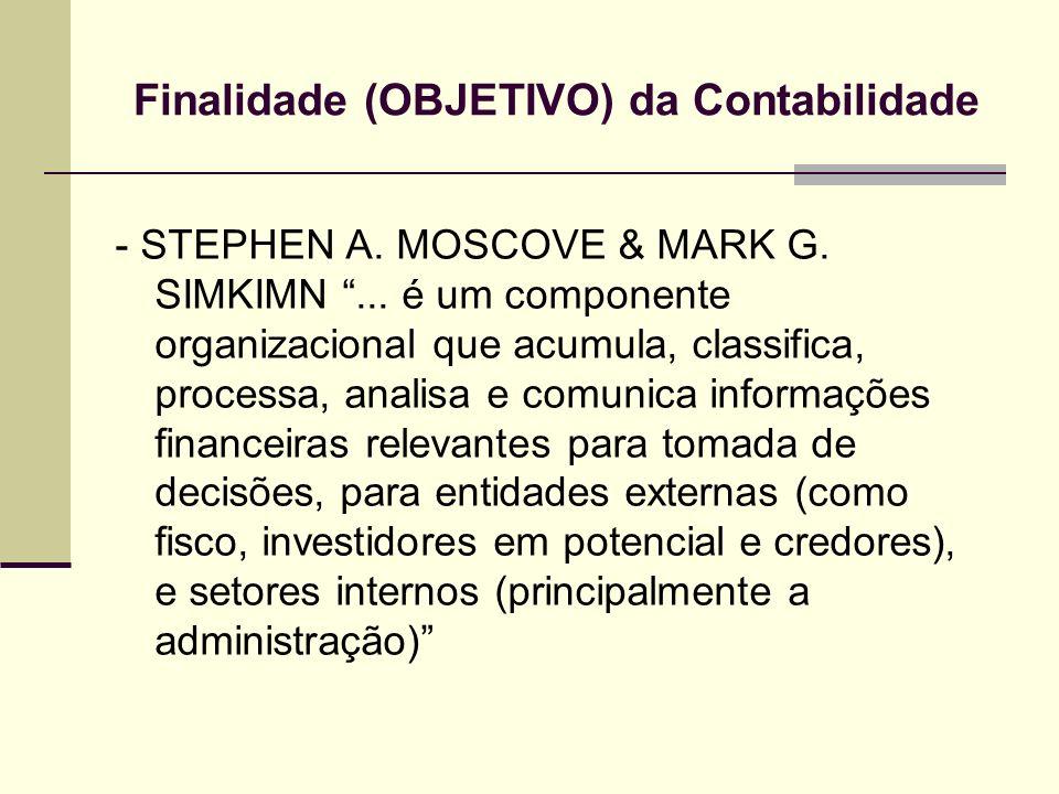 Finalidade (OBJETIVO) da Contabilidade - STEPHEN A. MOSCOVE & MARK G. SIMKIMN... é um componente organizacional que acumula, classifica, processa, ana