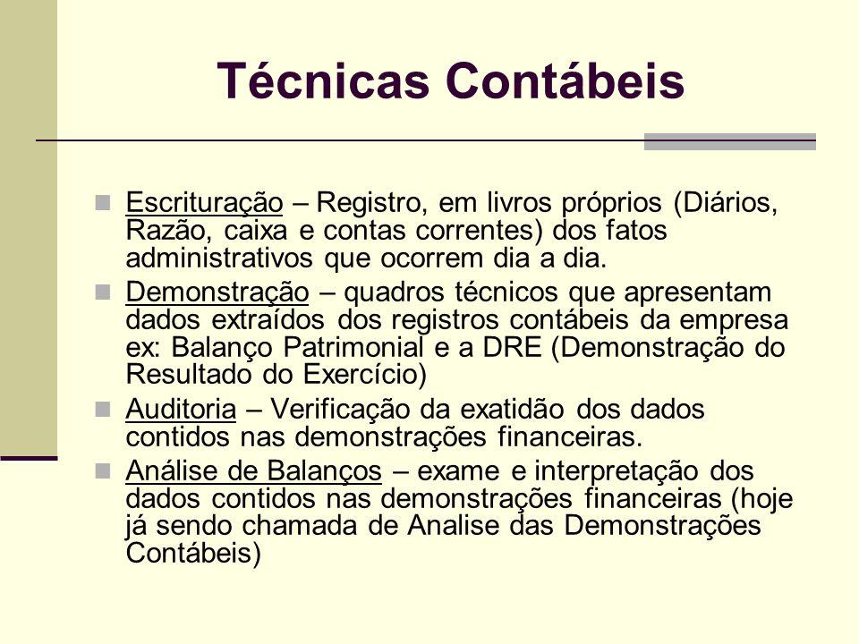 Técnicas Contábeis Escrituração – Registro, em livros próprios (Diários, Razão, caixa e contas correntes) dos fatos administrativos que ocorrem dia a