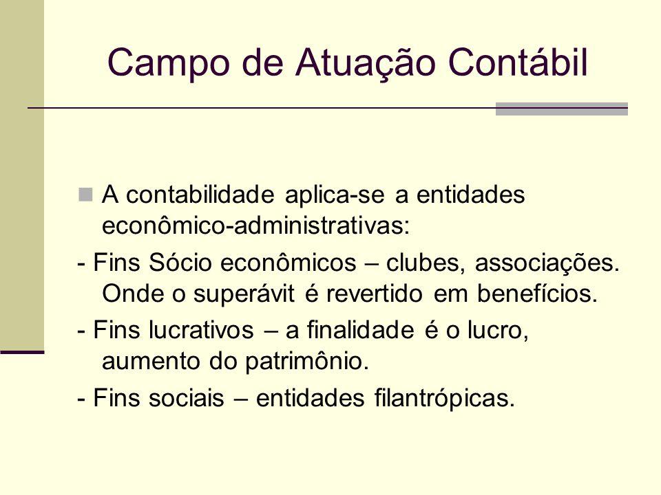 Campo de Atuação Contábil A contabilidade aplica-se a entidades econômico-administrativas: - Fins Sócio econômicos – clubes, associações. Onde o super