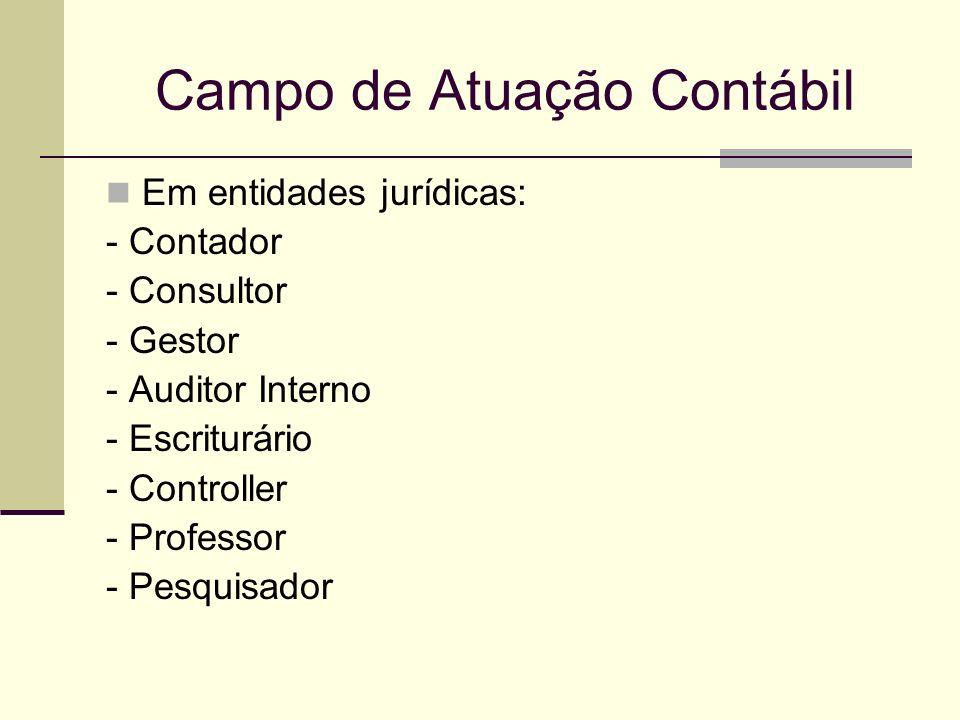 Campo de Atuação Contábil Em entidades jurídicas: - Contador - Consultor - Gestor - Auditor Interno - Escriturário - Controller - Professor - Pesquisa