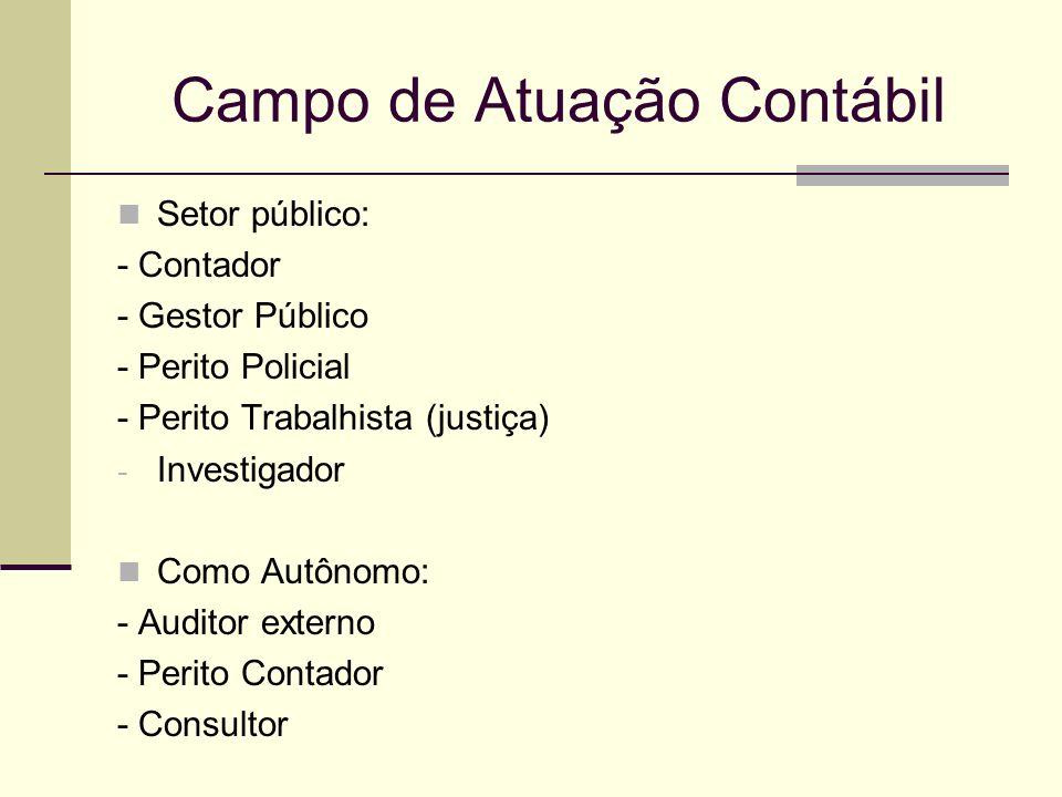 Campo de Atuação Contábil Setor público: - Contador - Gestor Público - Perito Policial - Perito Trabalhista (justiça) - Investigador Como Autônomo: -