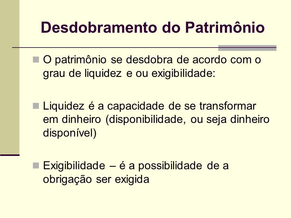 Desdobramento do Patrimônio O patrimônio se desdobra de acordo com o grau de liquidez e ou exigibilidade: Liquidez é a capacidade de se transformar em