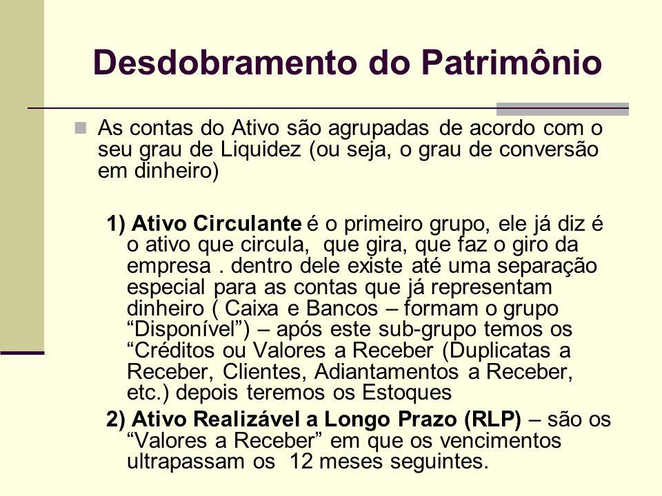 Desdobramento do Patrimônio As contas do Ativo são agrupadas de acordo com o seu grau de Liquidez (ou seja, o grau de conversão em dinheiro) 1) Ativo