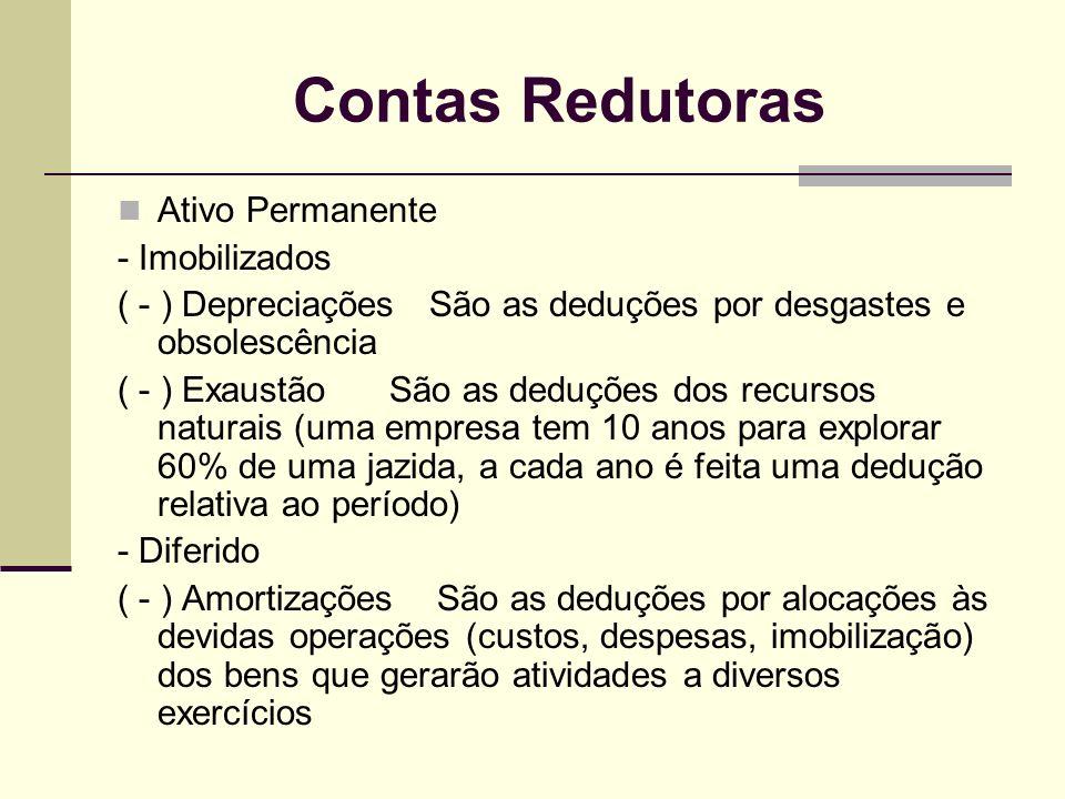 Contas Redutoras Ativo Permanente - Imobilizados ( - ) Depreciações São as deduções por desgastes e obsolescência ( - ) Exaustão São as deduções dos r