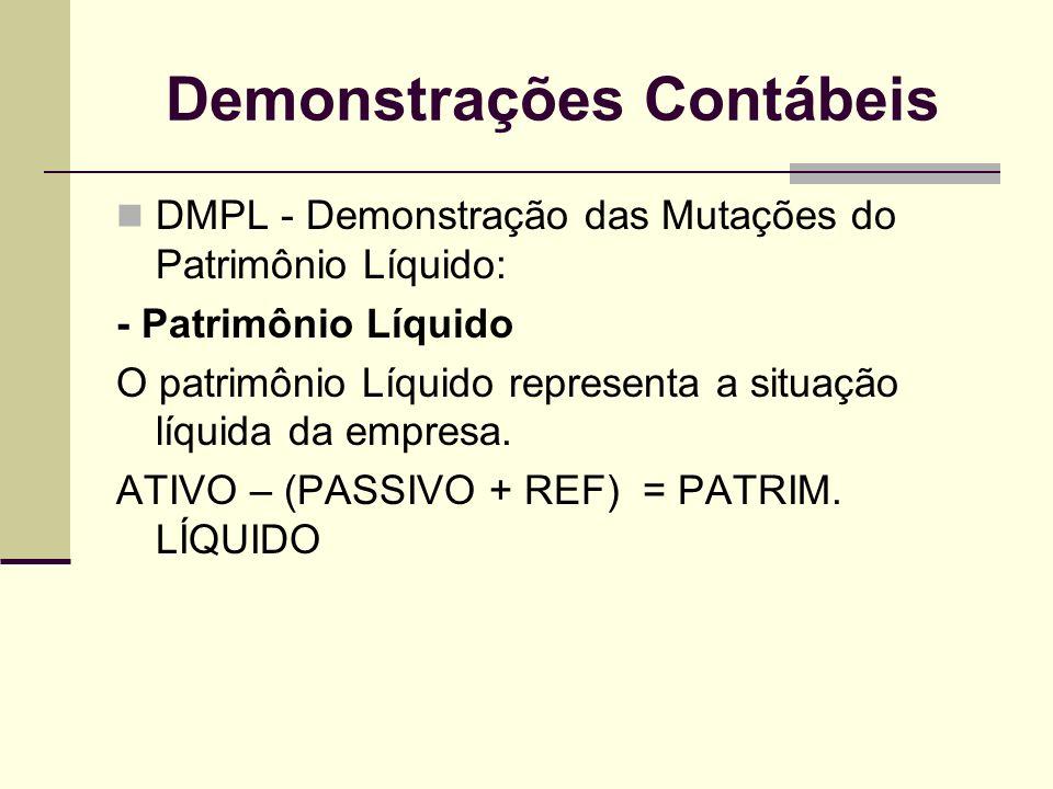 Demonstrações Contábeis DMPL - Demonstração das Mutações do Patrimônio Líquido: - Patrimônio Líquido O patrimônio Líquido representa a situação líquid