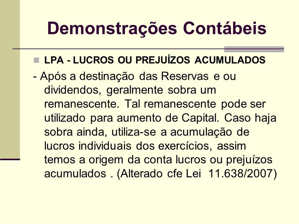 Demonstrações Contábeis LPA - LUCROS OU PREJUÍZOS ACUMULADOS - Após a destinação das Reservas e ou dividendos, geralmente sobra um remanescente. Tal r