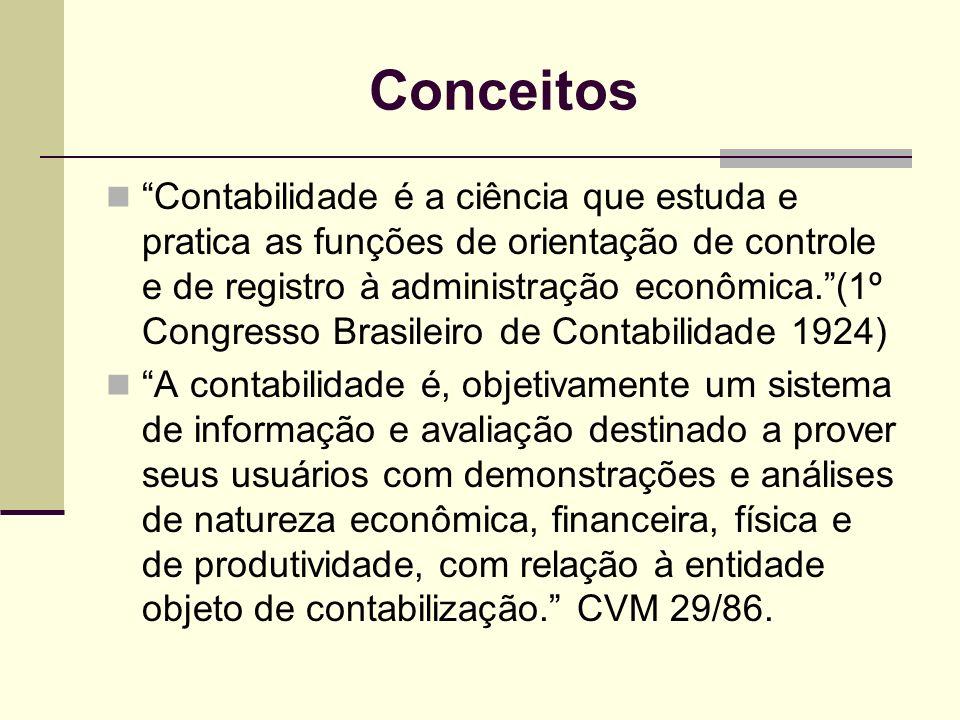 Conceitos Contabilidade é a ciência que estuda e pratica as funções de orientação de controle e de registro à administração econômica.(1º Congresso Br