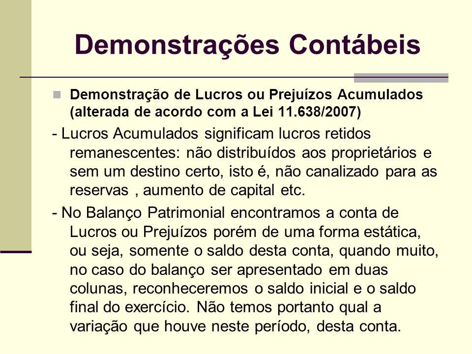 Demonstrações Contábeis Demonstração de Lucros ou Prejuízos Acumulados (alterada de acordo com a Lei 11.638/2007) - Lucros Acumulados significam lucro