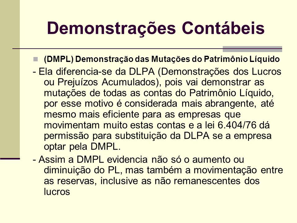 Demonstrações Contábeis (DMPL) Demonstração das Mutações do Patrimônio Líquido - Ela diferencia-se da DLPA (Demonstrações dos Lucros ou Prejuízos Acum